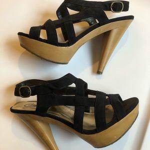 Candies black strap heels